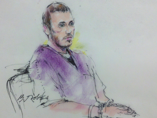 Sketch of James Holmes during Sept-10946. 20, 2012 court hearing