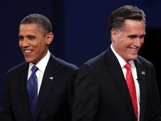 Obama and Romney smiling