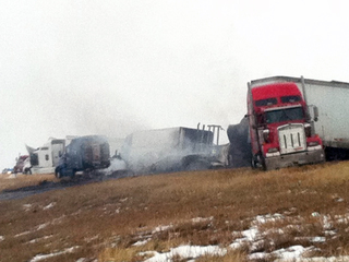 Big rigs pileup on I-70 near Agate