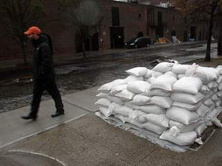 Sandbags in Brooklyn for Hurricane Sandy-10946