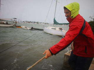 Securing sailboat during Sandy-10946