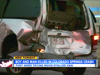Man, boy killed pushing stalled van
