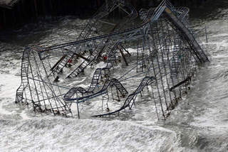 Sandy destroyed roller coaster-10946