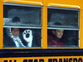 Sandy Hook students on bus-10946