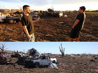 Mangled truck cheers up tornado victim