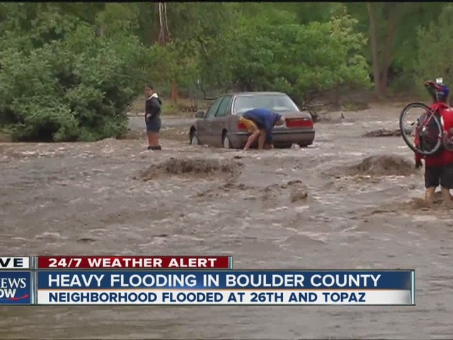 Four mile creek floods Boulder neighborhood