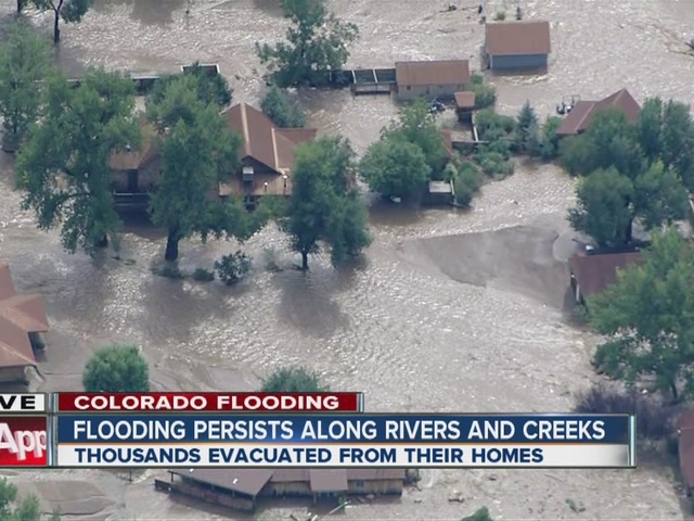 Flying over flooding damage in Lyons