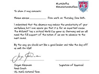 US soccer coach has note for your boss