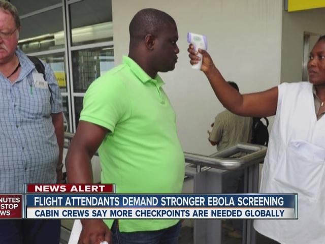 Flight attendants demand strong Ebola screening