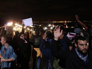 Protesters block highway, stop train in Berkeley