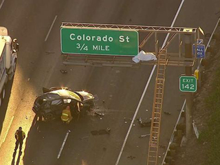 LA driver ejected from car, body lands on sign