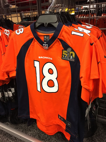 0970f473 ... Kids size Broncos jersey with Super Bowl 50 logo - 125.