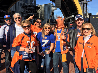 Denver Broncos fans in Super Bowl City