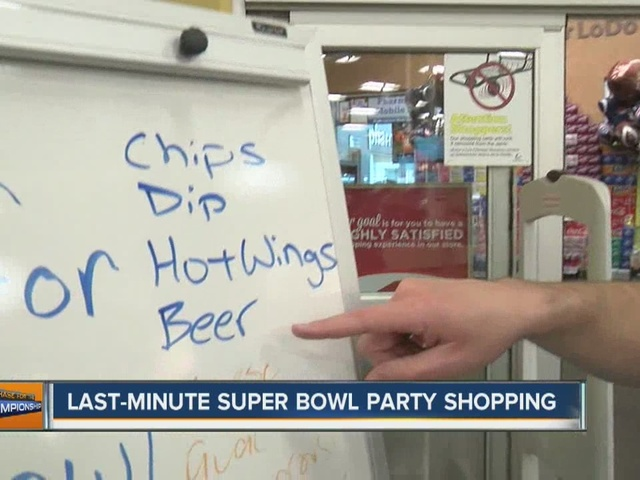 Shoppers out looking for Super Bowl foods