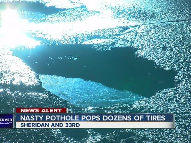 30 vehicles damage by pothole on Sheridan Blvd.