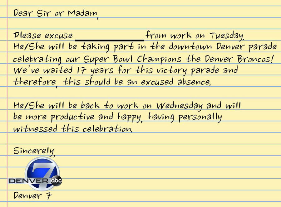 HereS Your Excuse Note To Get Out Of Work Tuesday For The Broncos