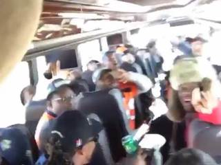 VIDEO: Fun on Broncos team bus on way to parade