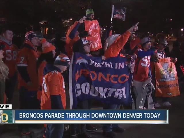 Denver Broncos fans line streets before sunrise for Super Bowl victory parade