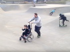 Boy with cerebral palsy 'skateboards' with dad