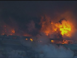 Huge warehouse fire in N.J. burns overnight