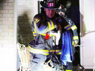 Cat rescued from fire; Passerby rescued family