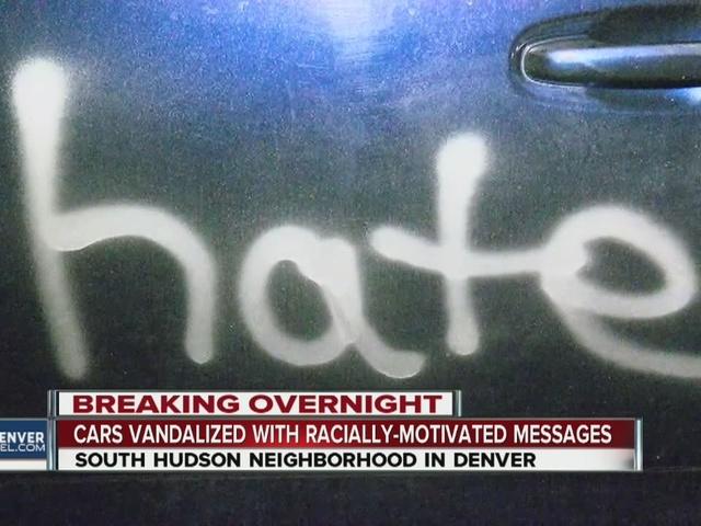 Cars, neighborhood vandalized in Denver