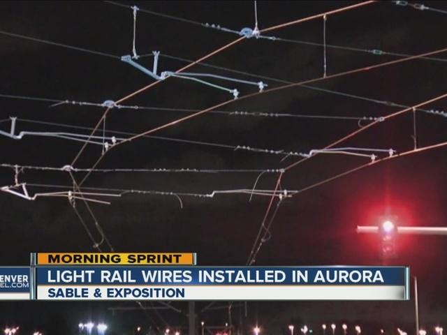 Light rail wires installed in Aurora