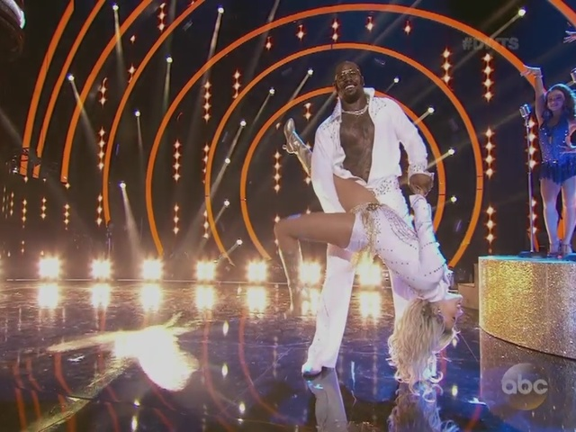 Von Miller and Whitney Carson do the salsa on Dancing With the Stars