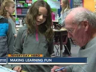 Grandfather gives his time in the classroom