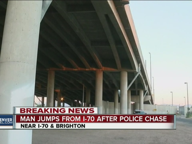 Man jumps off I-70 after chase
