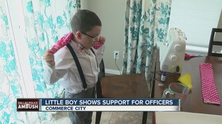 7-yr-old sews neck warmers for cops after attack