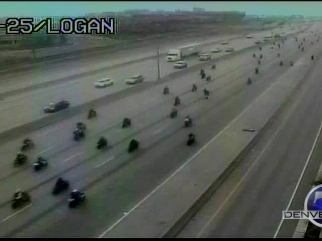 CDOT captures moment hundreds of bikers ride on NB I-25