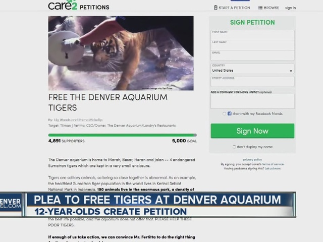 Petition calls for moving tigers from Denver Aquarium