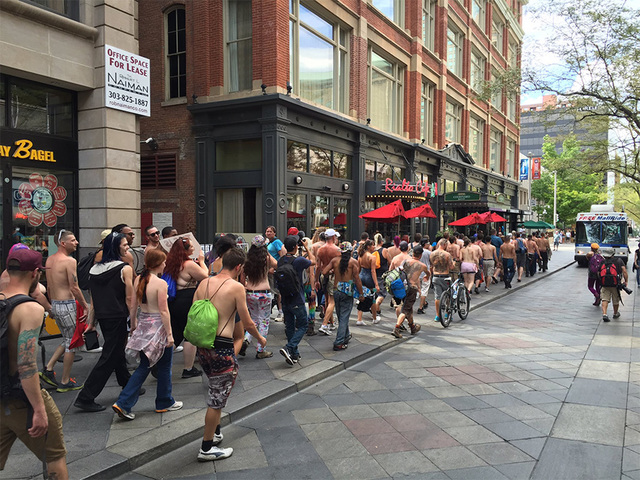 Go Topless Day: Hundreds protest for woman's right to go topless in public