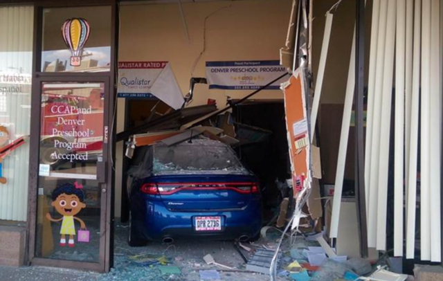 Car slams into Aurora day care; 3 injured