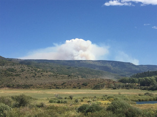 Smoke from Lost Solar Fire visible in Eagle Co.