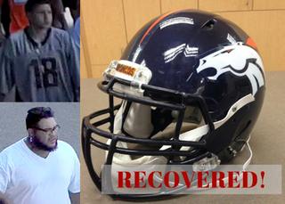 Tips lead to suspect in Broncos helmet theft