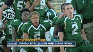 Aurora Central national anthem protest continues
