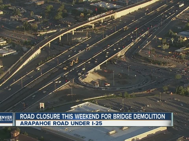Arapahoe closed under I-25 this weekend
