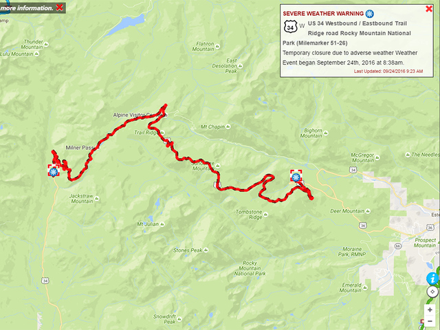 Several closures at Trail Ridge Road due to snow in Rocky Mountain ...