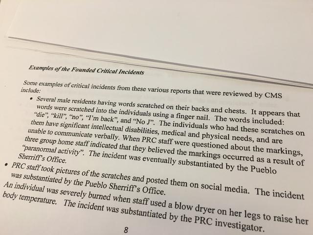 Investigators document abuse at Pueblo Regional Center for disabled