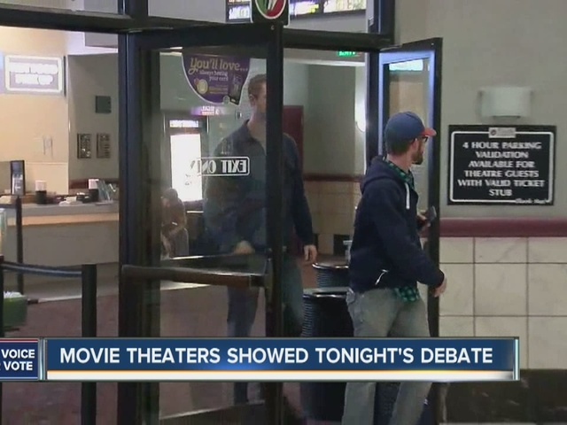 Movie theaters showed Wednesday's debate