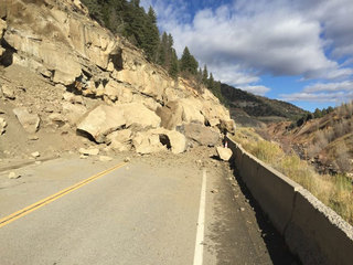 Big boulders covering Hwy 133 after rock slide