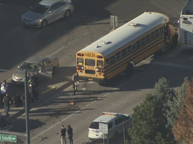 RAW: School bus involved in 4-vehicle crash in north Denver