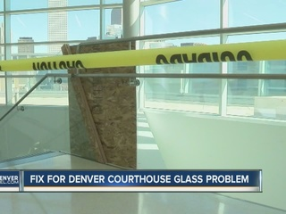 Temp fix at courthouse due to shattering glass
