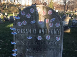 Many leave stickers on feminist icon gravesite