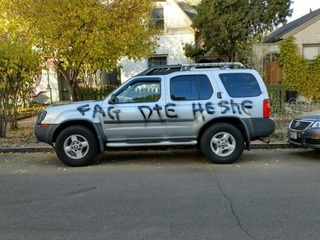 Trans woman's car spray-painted with hate speech