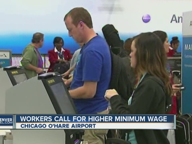 O'Hare Workers Protest Low Wages (UAL, AAL)