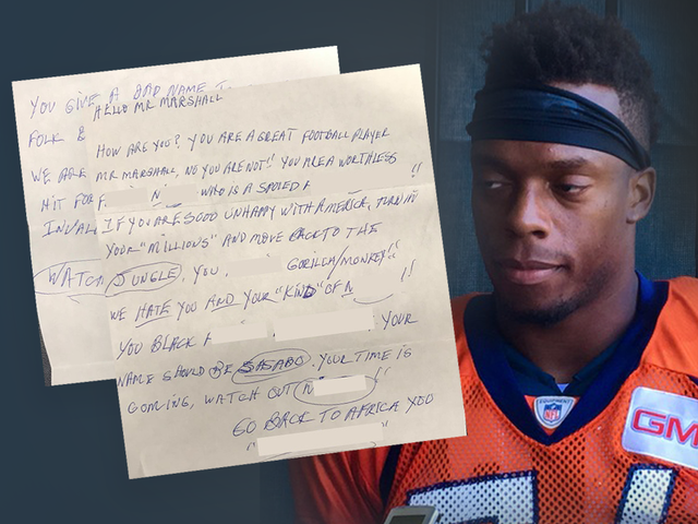 Broncos player posts racist letter he received