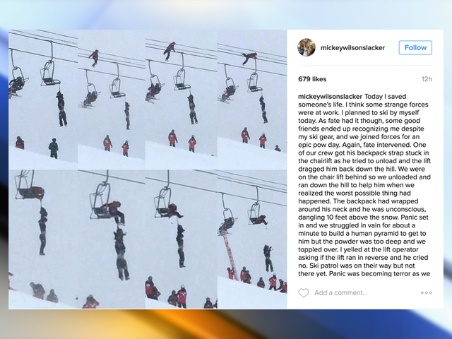 Professional slackliner saves skier's life on Arapahoe Basin chairlift; video